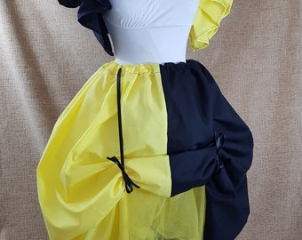 Witch Wizard Half And Half Full Length Yellow And Black House Colours Cosplay Bustle Skirt-One Size Fits All