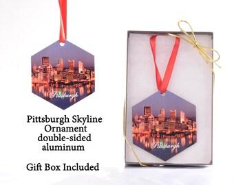 Pittsburgh Skyline Hexagon Ornament - 2 sided