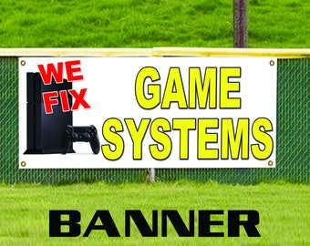 We Fix Game System Xbox Computer Advertising Banner Sign