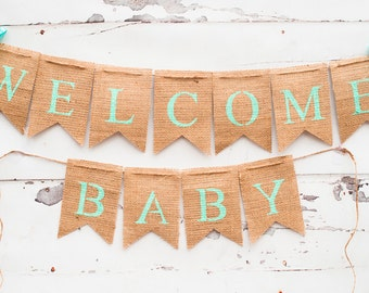 Welcome Baby Banner, Baby Shower Banner, Turquoise Baby Shower Banner, Welcome Baby Sign, Baby Shower Decor, B104