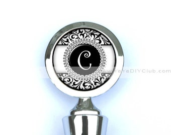 Personalized bridesmaids gifts, Monogram Wine Stopper - Black and white damask Initial Monogram Custom Color Initial Monogrammed Gift