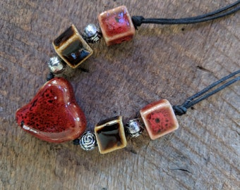 Rustic ceramic beaded heart necklace