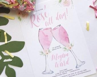 Rosé All Day Invitation - Bridal Shower Invitations - Rose All Day Invitations - Wine Party Invitations