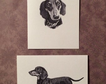 Set of 6 or 12 Handmade Blank Dachshund Doxie Dog Print Note Cards