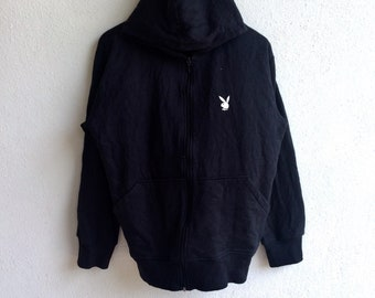 Rare!!! Vintage PLAYBOY SMALL BUNNY Hoodie Sweatshirt Black Colour Large Size