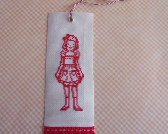 Bookmark embroidered retro girl