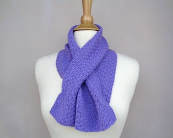Violet Purple Scarf, Cashmere Neck Warmer, Keyhole Scarf, Pull Through Scarf, Hand Knit, Pure Cashmere, Girlpower Knits