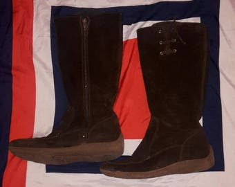 Chocolate brown suede below the knee boots