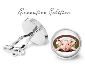 Pig On A Farm Cufflinks - Pig Cuff Links - Animal Cufflink - Farmer Cufflink - Groom Wedding Gift (Pair) Lifetime Guarantee (S0056)