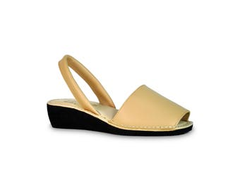 avarca wedge sandals - beige - leather sandals, avarcas, espadrilles, leather avarcas, menorquinas, sandals, menorca sandals, espadrilles