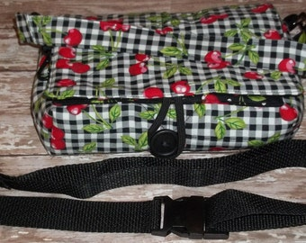 Coupon Organizer Tote Bag Cherries on black w black & white checks w cherries Quilted Sorts Coupons w Key and Pen Hoder Adjustable Strap