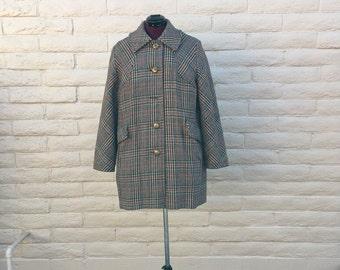 Vintage Penguin Tweed Wool Coat Brown Green Burgundy 60s Winter Coal Sz L