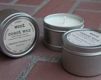cannon beach, or (sand and sea) soy wax candle, 8 oz