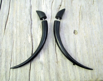 Fake Gauges Earrings Wooden Earrings Talon Tribal Black Dark Wood Organic - FG034 DW G1