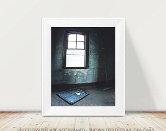 Urban Window Photography, Dark Blue Teal Decor, Rustic Decay Broken Window Abandoned, Architecture Photo, Moody, Halloween Art, Halloween