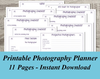 INSTANT DOWNLOAD Photography Planner PDF Wedding Planning