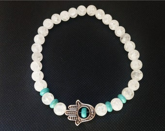 Handmade Beaded Bracelet with Hamsa Hand Charm