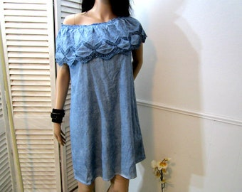 Blue dress, Off-Shoulder Ruffle Blue Dress, Prairie Country Dress, Cotton Dress with Embroidery and Lace