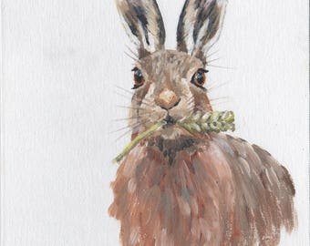 Brown Hare original painting on canvas board