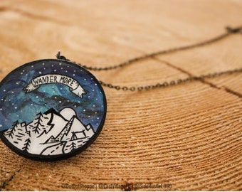 Handpainted necklace, Wander More Necklace, Wander necklace, Mountain necklace,boho jewelry,statment necklace,custom jewelry