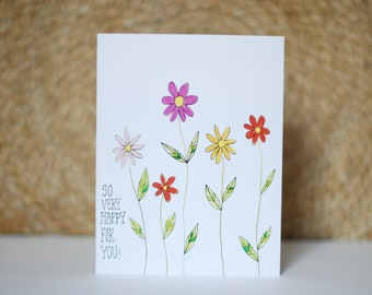 "Colorful Daisies - Set of 6 - Congratulation Cards - ""So Very Happy For You!"" -Original Design"