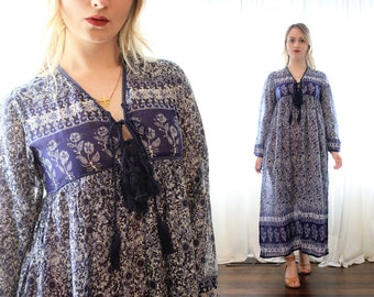 Indian cotton gauze block print peasant bohemian folk maxi dress tassel tie trim indigo blue white hippie boho