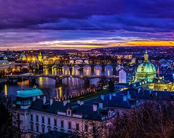 Czech Republic - Prague - View at The Charles Bridge and Vltava river - SKU 0053
