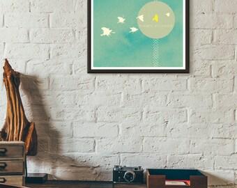 Letterpress Inspired Art Print Inspirational Art Print Wall Art Bird Art Modern Art Print