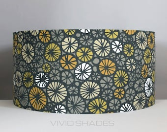 Yellow lamp shade etsy lampshade scandi fabric 40 or 45cm handmade by vivid shades funky retro true scandinavian fabric aloadofball Images