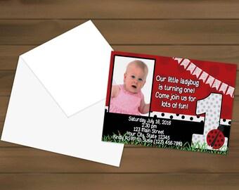 Ladybug First Birthday Invitations - Ladybug Party - Ladybug Birthday - First Birthday - Ladybug Invites - Birthday Invitation