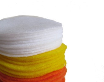 "150, 3"" Felt Circles for DIY Halloween Candy Corn Decoration Yellow, Orange, White"