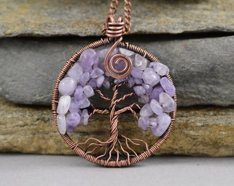 Tree Of Life Necklace Pendant Jewelry Inspirational Necklace Jewelry Gift Amethyst Necklace Amethyst Pendant February Birthstone Best gift