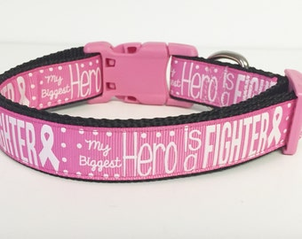 Breast Cancer Dog Collar - Fighter - Awareness - Pink - Fight - Hero - Dog - Pets - Support
