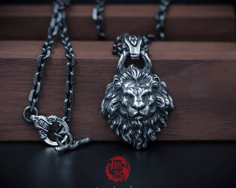 Sterling Silver 925 Lion Pendant ONLY (without chain), with Aged Finish, Oxidized Silver, Songyan Jewelry