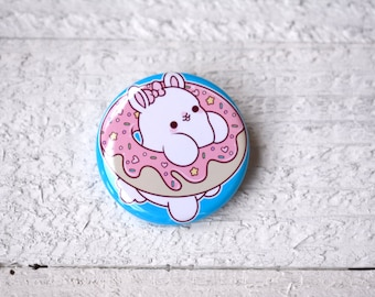 Kawaii Donut Bunny Nugget Pinback Button or Magnet