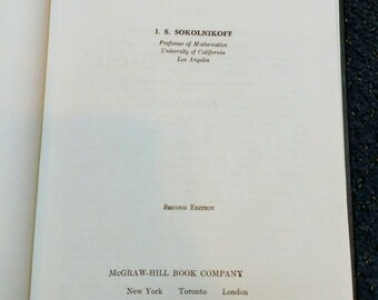 Mathematical Theory of Elasticity 2nd Edition I. S. Sololnikoff RARE Vintage Text