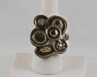 Dinner Ring Gold abstract flower design emphasized with Black enamel, 1 large 1 small diamond cut crystals Pristine
