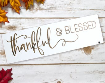 Rustic Fall Decor, Rustic Fall Signs, Rustic Fall Home Decor, White Fall Decor, White Fall Sign, Thankful Sign, Blessed Sign, Fall Rustic