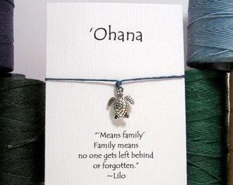 Ohana, Sea Turtle  Wish Bracelet