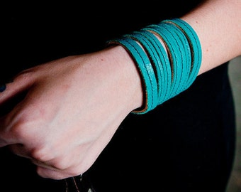 Fabulous Teal Leather Cuff Bangle (or Black) New and re-purposed leather