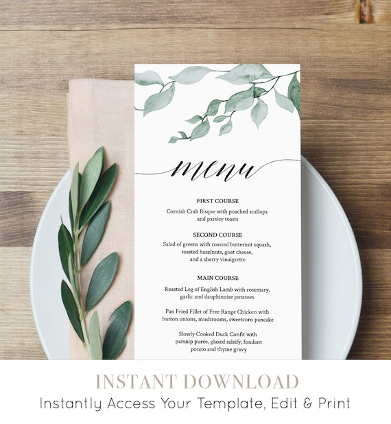Greenery Menu Template, Wedding Dinner Menu, Reception Card, Printable, Watercolor Leaves, INSTANT DOWNLOAD, Fully Editable, DIY #019-109WM