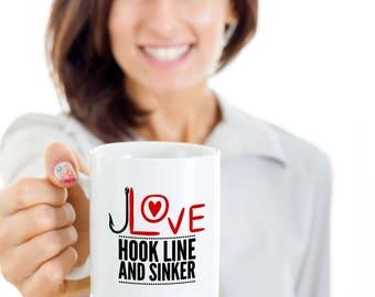 Valentines Gift For Fisherman, Fishing Mug, Hook Line and Sinker Mug, Fishing Gifts Boyfriend, Husband, Grandpa, Valentines Day Fishing Gift