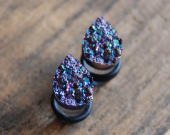 Tear Drop Shaped Purple Pink Faux Druzy Rough Crystal Plugs Gauges for stretched earlobes. Choose Size 2g, 0g (8mm), 00g (10mm), 12mm