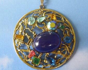 Vintage Colorful Rhinestone Medallion Pendant Necklace