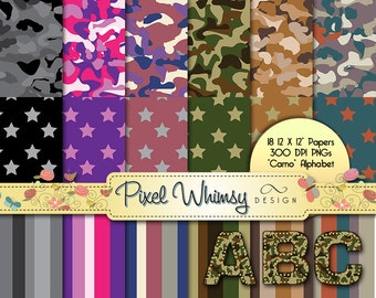 "18 Digital Papers - Camo (Camouflage) Stars and Stripes - 12 x 12"" -  Digital Stamp Clip Art Alphabet - Printables - Scrap Booking"
