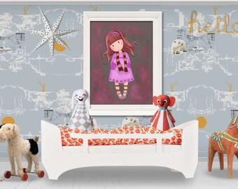 Vintage girl  digital art printable  art invitation wall art