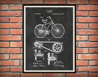 1890 Bicycle Patent Print - Bicycle Belt and Pulley Patent Print - Bicycle Poster - Bicycle Shop Decor - Bicyclist Gift Idea
