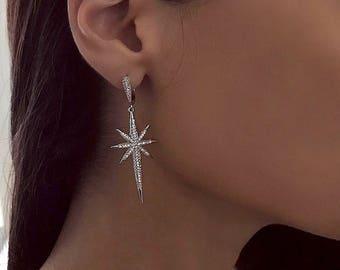 VERA EARRING -  drop earrings, evening earrings, star earrings, statement earrings, european earrings, diamond earrings, shiny earrings
