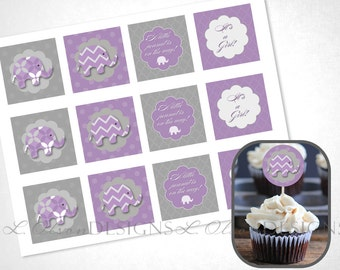Stacked Elephants Cupcake Toppers - Purple - DIY Printable - INSTANT DOWNLOAD
