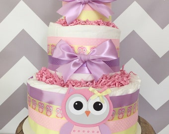 Owl Baby Shower Diaper Cake in Lavender, Pink and Yellow, Owl Baby Shower Centerpiece